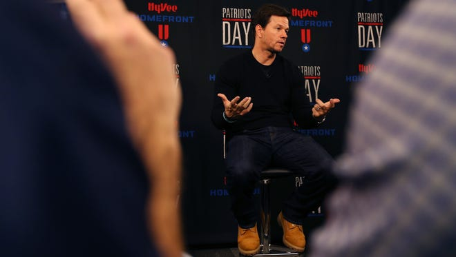 Actor Mark Wahlberg speaks during a news conference before he attends the Hy-Vee Homefront fundraiser and Patriots Day movie screening on Monday, Jan. 9, 2017, at Hy-Vee's corporate headquarters in West Des Moines.