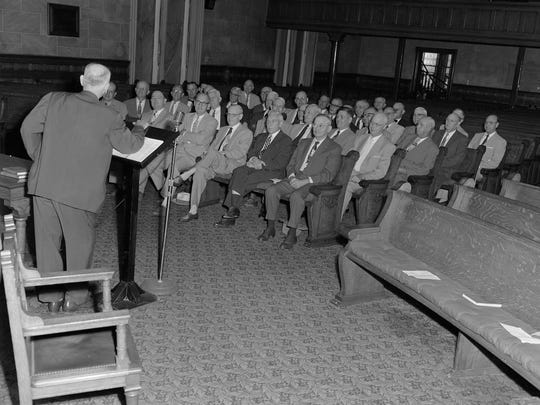 Men's Sunday School class at First Presbyterian Montgomery in 1956
