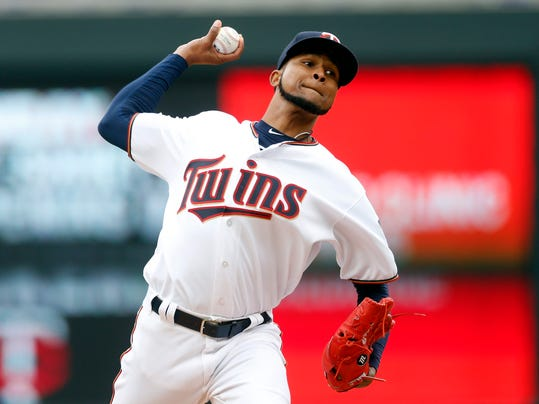 Minnesota Twins pitcher Ervin Santana throws against the Cleveland Indians in the first inning of a baseball game Thursday, April 20, 2017, in Minneapolis. (AP Photo/Jim Mone)