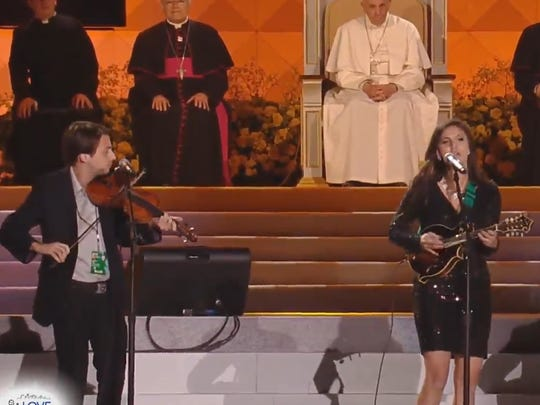 Pope Francis watches as performers take the stage at the Festival of Families on Saturday night in Philadelphia.