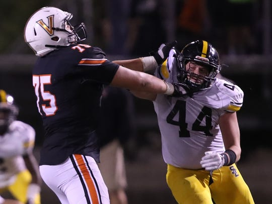 West Des Moines Valley's Jake Remsburg has blossomed into one of the state's best offensive linemen. The Iowa State commit is a key part of the Tiger's offensive line this season.