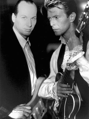 """Adrian Belew (left) joined David Bowie for the """"Lodger"""" tour in 1978-79 and the """"Sound and Vision"""" tour in 1990."""