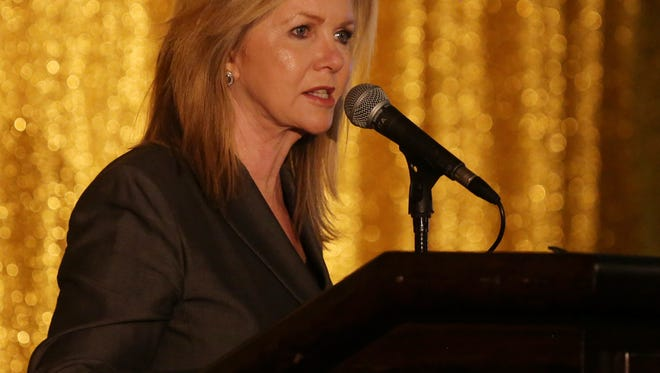 Marsha Blackburn speaks during the Williamson County Republican Party's 2017 Reagan Dinner Celebration Friday February 24, 2017 at the Cool Springs Marriott.