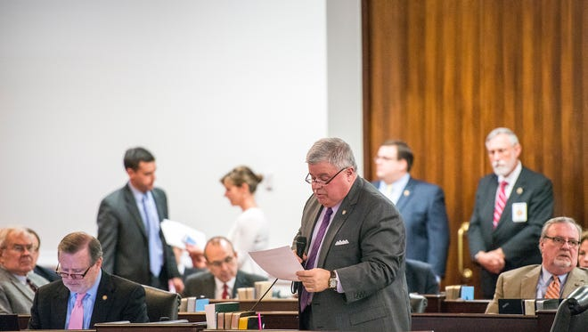 Sen. Tom Apodaca, R-Henderson, speaks during a session of the state Senate earlier this year.