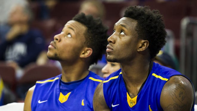 Delaware's Kory Holden (right)  and Chivarsky Corbett are coming off CAA All-Rookie seasons.