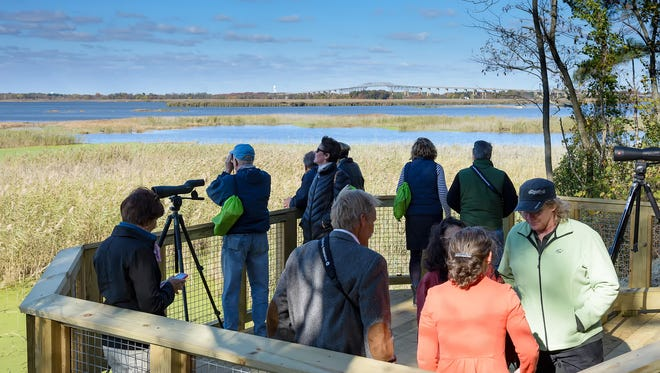 Visitors look out over the marshlands from the wildlife viewing platform at Thousand Acre Marsh, near Port Penn, on Friday.