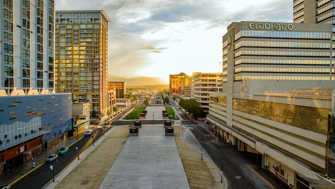 The light over the tunnel in downtown Reno.