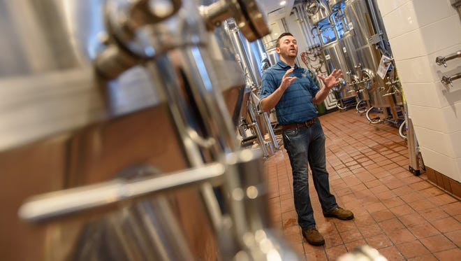 "R.J. Nab, Granite City's director of field brewery operations, talks about the patented ""Fermentus Interruptus"" brewing process Friday, February 5, 2016. The brewery opens in the Renaissance Center Wednesday."