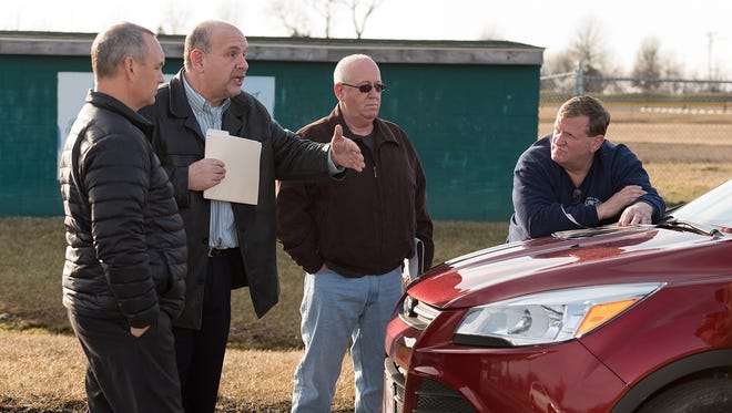 Greg Yacucci (left), Trustee of the New Castle Common, Joe Di Stefano, VP New Castle Little League, Tommy Wilson, President Trustees of the New Castle Common, and Tom Clayton (right), Trustee of the New Castle Common, discuss construction plans.The New Castle Little League fields on Frenchtown Road in New Castle have some planned construction at the Robert J. Quillen Memorial Field that may affect fields, a playground, and parking.