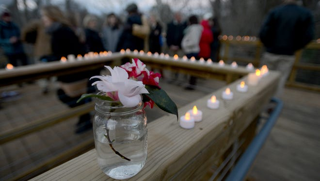 A candle lighting ceremony in memory of Lindsey Motley was held at Lindsey's Leap of Faith in the Greenville Cancer Survivors Park on Thursday.