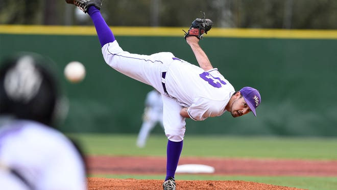 Northwestern State pitcher Jeffrey Stovall throws a pitch against Grambling on Wednesday night.