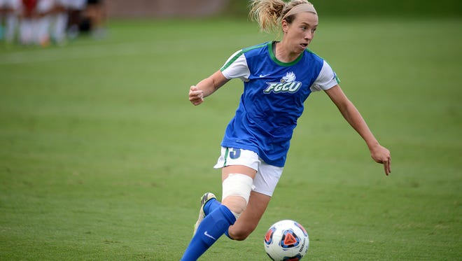 Ali Rogers (3) looks for someone to pass the ball. The FGCU Eagles ended their quest for the NCAA Womens Soccer Championship when they were defeated 2-0 by the Duke Blue Devils in second round action at Dizney Stadium on the campus of the University of Florida on Friday afternoon Nov. 20, 2015.