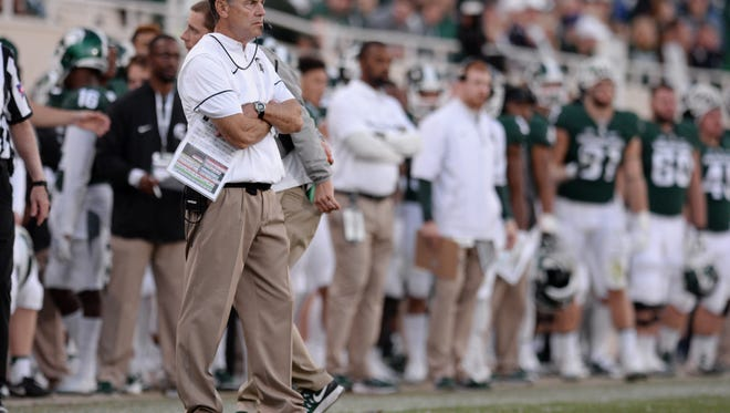Head coach Mark Dantonio reacts during the game against Northwestern on Saturday, Oct. 15, 2016 at Spartan Stadium in East Lansing. Northwestern defeated MSU, 54-40.
