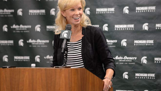 Women's basketball head coach Suzy Merchant speaks to the media on Wednesday, Oct. 19, 2016 during MSU's women's basketball media day at the Breslin Center.