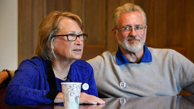 Patty and Jerry Wetterling spoke Tuesday, Oct. 11, 2016,  in meetings with media at St. Mark's Episcopal Cathedral in Minneapolis.