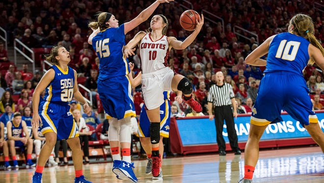 Allison Arens takes it up against Ellie Thompson as USD women's basketball takes on SDSU at the DakotaDome, in Vermillion, SD on December 31, 2016.