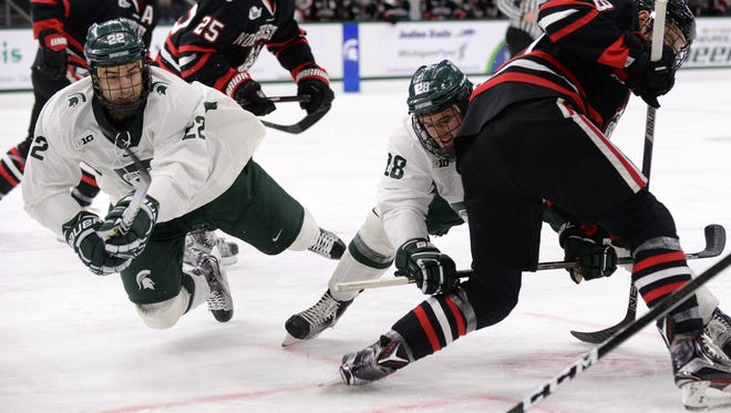 MSU's JT Stenglein, 22, and Thomas Ebbing, 28, are two of the seniors playing their final home weekend at Munn Ice Arena.
