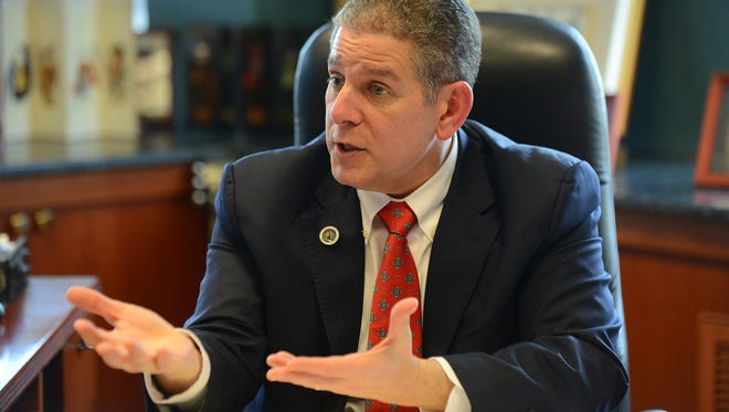 Lansing mayor Virg Bernero talks to the Lansing State Journal on Monday, Feb. 27, 2017 at his office in Lansing. Bernero announced he would not run for a fourth term.