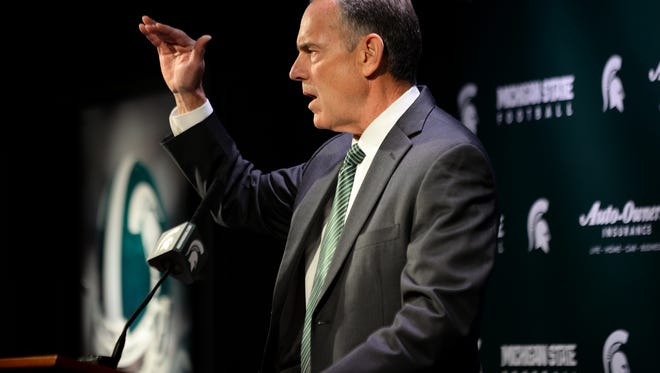 Head coach Mark Dantonio speaks to the media during a press conference on Tuesday, March 28, 2017 at Spartan Stadium in East Lansing. Dantonio addressed the sexual assault allegations against members of the football team.
