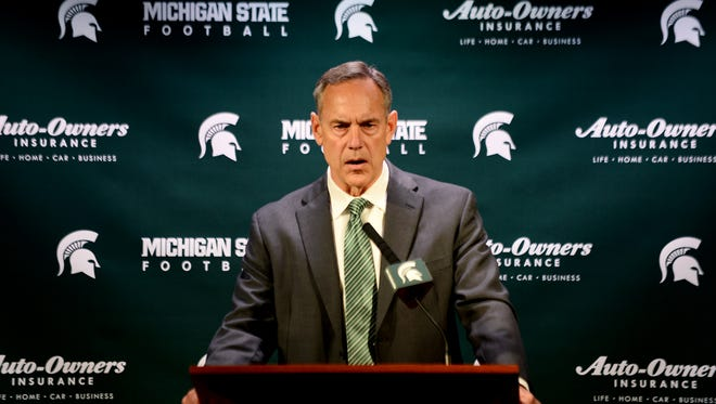 Head coach Mark Dantonio speaks to the media during a press conference on Tuesday at Spartan Stadium in East Lansing. Dantonio addressed the sexual assault allegations against members of the football team.