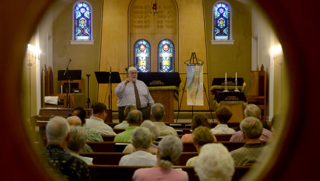 Dr. Charles Page presented a religion lecture in this 2016 file photo at B'Nai Israel.