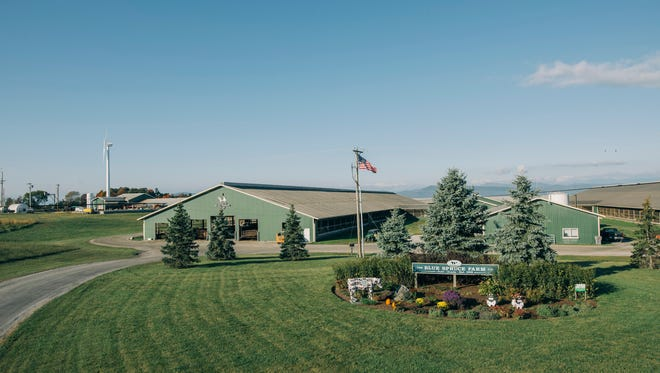 A view of the dairy, digester and wind turbine at Blue Spruce Farm in Bridport.