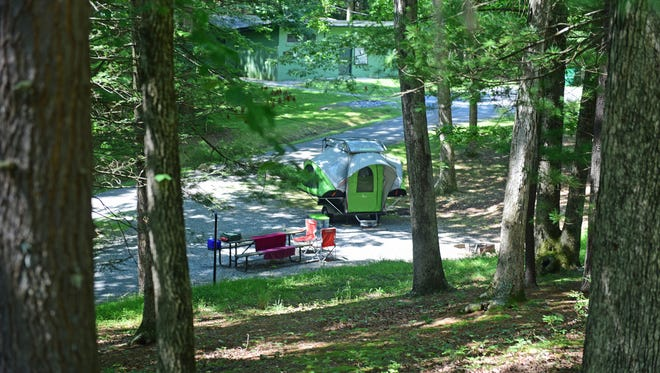 A campsite is seen Wednesday, August 2, 2017 at Caledonia State Park.