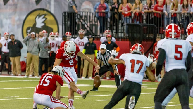 Ryan Weese kicked the game-winning field goal on Saturday at the DakotaDome in a 31-28 win over Youngstown State.