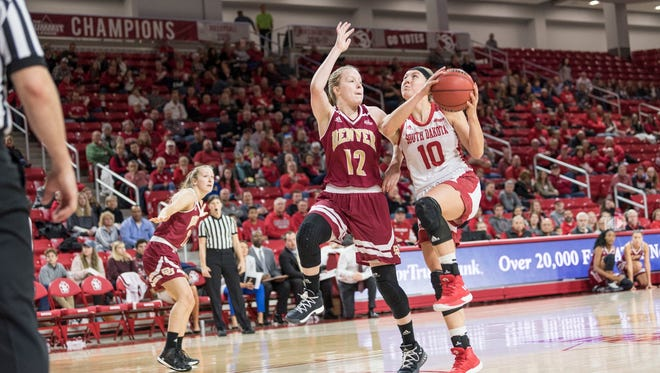 South Dakota's Allison Arens drives to the basket with Denver's Claire Gritt defending on Saturday at the Sanford Coyote Sports Center.