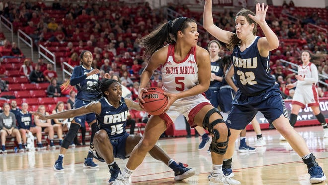 Jasmine Trimboli looks to pass the ball past Sarah Garvie of Oral Roberts on Saturday at the Sanford Coyote Sports Center.