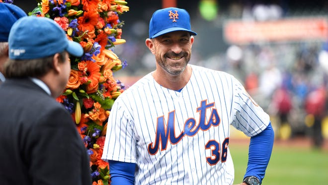 New York Mets manager Mickey Callaway (36) during opening day ceremonies. New York Mets face the St. Louis Cardinals on Opening Day at Citi Field in Flushing, NY on Thursday, March 29, 2018.