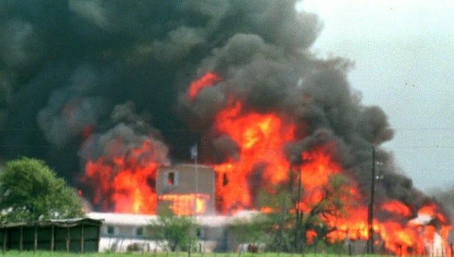 Fire engulfs the Branch Davidian compound near Waco, Texas, on April 19, 1993.