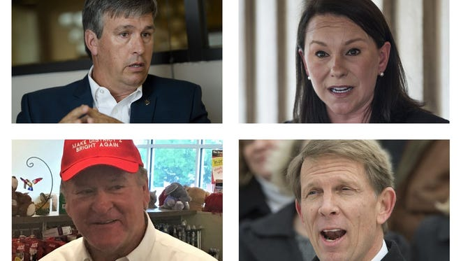 Candidates seeking the Republican nomination in the 2nd congressional district (clockwise from top left): Rep. Barry Moore; incumbent U.S. Rep. Martha Roby; Rich Hobson, a longtime aide to former Alabama Chief Justice Roy Moore, and former U.S. Rep. Bobby Bright