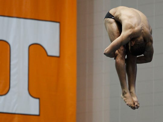 Tennessee freshman diver Michael Wright practices at