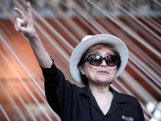 Japanese artist Yoko Ono attends the opening of her