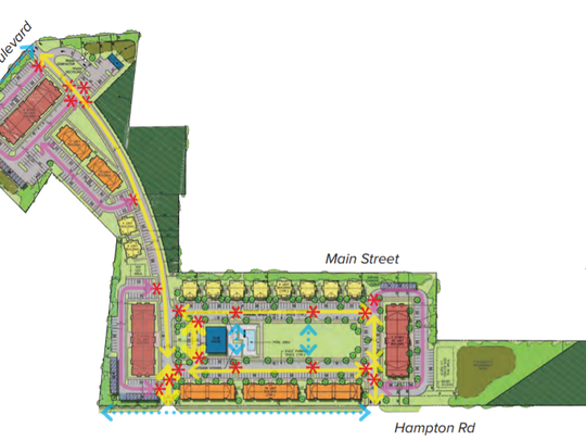 Revised redevelopment plan details changes for tract between Hampton Road and Cuthbert Boulevard in Cherry Hill.