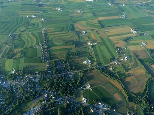 A view of Franklin County's farmland from a hot air