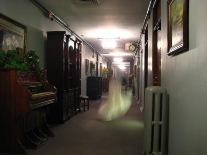 An apparition appears in a hallway at the Jerome Grand