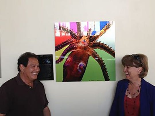 The collaborative efforts showcasing art and science of the ocean depths by Edith Widder (right), and her colleague and artist, Steve Bernstein, were part of a three-part exhibition at the Lighthouse ArtCenter in 2016.