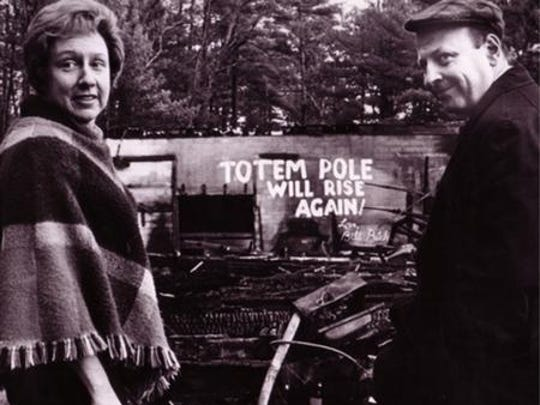 """Jean Stapletown and William Putch, the second artistic director and who ran Totem Pole Playhouse from 1953 to 1983, at the ruins of the Totem Pole Playhouse after a 1969 fire. Stapleton, Putch's wife and star of the hit 1970s show """"All in the Family,"""" starred in many TPP productions."""