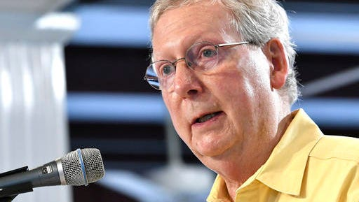 In this Aug. 6, 2016, file photo, Majority Leader Mitch McConnell of Kentucky, addresses the crowd gathered at the Fancy Farm Picnic in Fancy Farm Ky. McConnell has never had much to say about Donald Trump. But lately, he has fallen completely silent. On the few occasions when the Republican leader has appeared publicly in his home state of Kentucky this month, he's either avoided answering reporters' questions, or explicitly refused to address the topic he acknowledged was on everyone's mind: His party's presidential nominee.