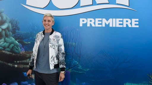 "FILE - In this June 8, 2016, file photo, Ellen DeGeneres arrives at the premiere of ""Finding Dory"" at the El Capitan Theatre in Los Angeles. DeGeneres used the plot of the film on her syndicated chat show Monday, Jan. 30, 2017, to illustrate her stance on President Donald Trump's recent executive order on immigration and refugees."