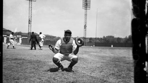 "This 1942 photo provided by the Carnegie Museum of Art shows Homestead Grays baseball catcher Josh Gibson crouched on Forbes Field in Pittsburgh. Gibson is featured in an opera about his life called ""The Summer King."" It has its world premiere April 29, 2017 in Pittsburgh."