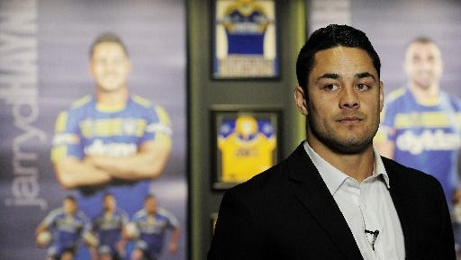 Jarryd Hayne speaks looks on during a press conference to announce he is quitting the NRL to pursue NFL in America on October 15, 2014, in Parramatta, Australia.