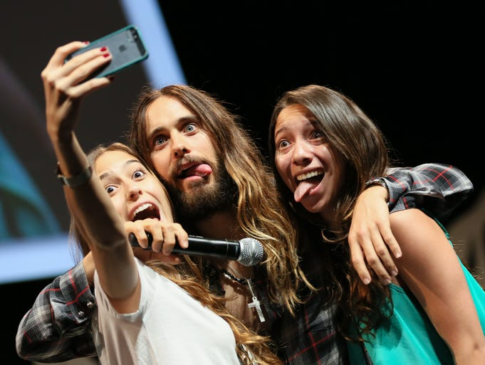 Celebrities flocked to the Cannes Lions Festival of Creativity. Here, Jared Leto poses for a selfie with two fans who joined him on stage.