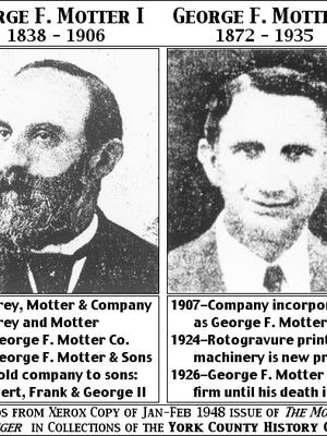 Photos of George F. Motter I & II (From Jan-Feb 1948 Issue of The Motter Messenger in Collections of York County History Center; Annotated and arranged by S. H. Smith, 2016)