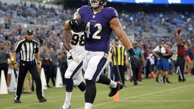The Ravens' Pat Ricard has 12 career receptions on 15 targets, three of which have gone for touchdowns.