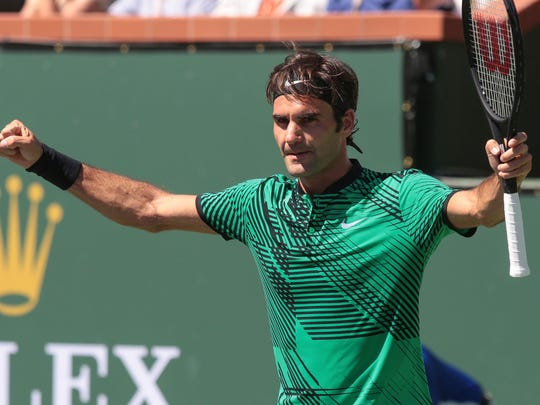 Roger Federer, of Switzerland, reacts to 6-1, 7-6 win over American Jack Sock in the BNP Paribas Open men's semifinals on Saturday, March 17, 2017 in Indian Wells, CA.