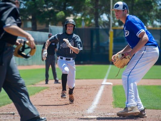 Pine View High School's Luke Green runs home to score