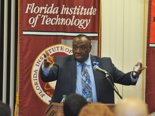 "Leonard Ross delivers the famous ""I have a Dream"" speech by Martin Luther King, Jr. Florida Institute of Technology Alumni Association presented their annual Julius Montgomery Pioneer Award and Dr.Harvey L. Riley Bridge Builder Award Thursday night on campus. The  2017 awards went to the Rev. Nathaniel Harris (for the Julius Montgomery Award) and Michael Cadore, Sr., for the Bridge Builder Award. They are seen here standing left to right between FIT President T. Dwayne McCay."